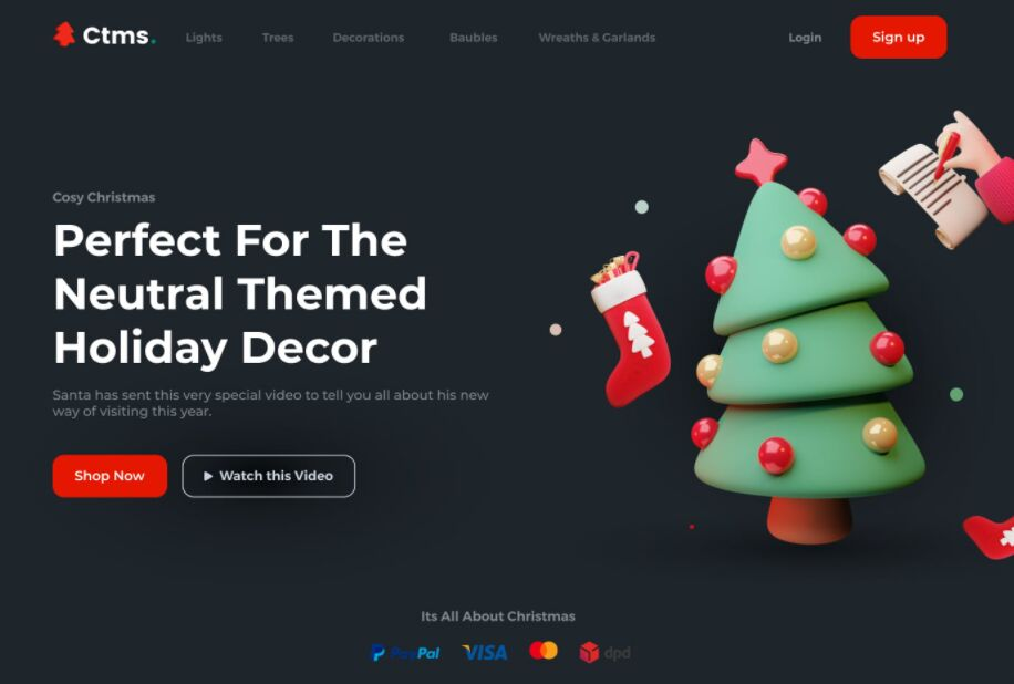 Holiday Decor Landing Page