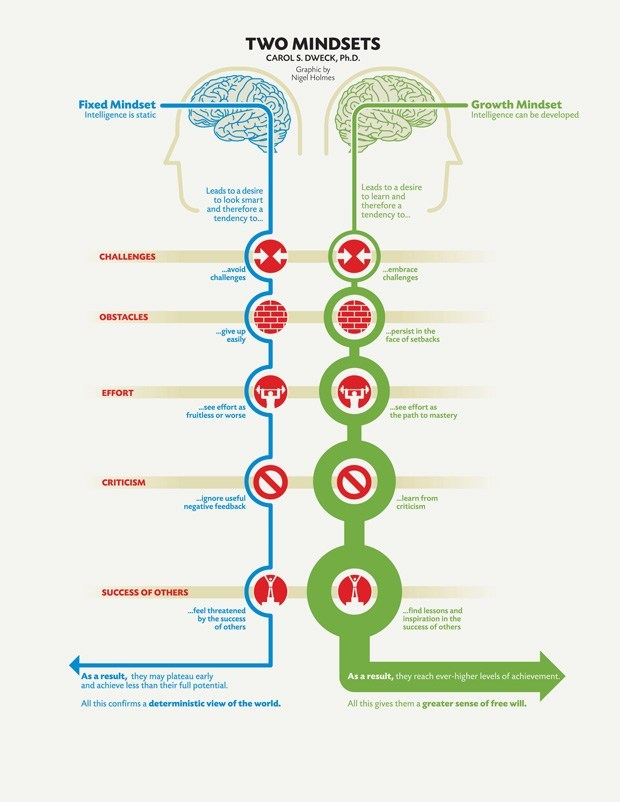 """A """"growth mindset,"""" on the other hand, thrives on challenge and sees failure not as evidence of unintelligence but as a heartening springboard for growth and for stretching our existing abilities."""