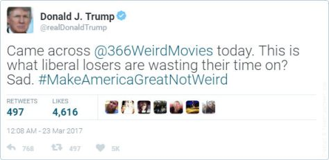 Trump 366 Weird Movies tweet