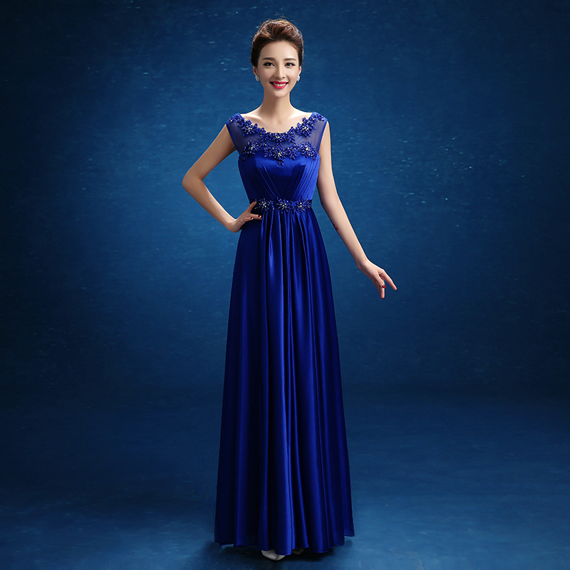 Royal Blue Satin Beaded Crystal Pattern Prom Dresses A