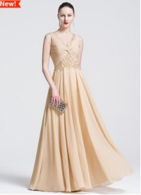 Champagne V-neck Chiffon Mother Of The Bride Dresses ...