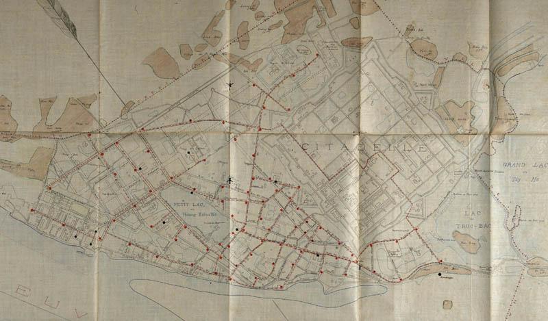 Bản vẽ sơ đồ thoát nước khu Đông Hồ Gươm do Pháp vẽ khi thành Hà Nội vẫn còn (nguồn ảnh HanoiData)