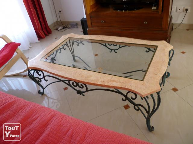 Table basse verre fer forg latest table en verre fer forge best table fer ferge verre with - Table basse en verre et fer forge ...
