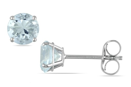 zsazsasitlist:  BY: ICE DETAILS HERE: 1 CARAT AQUAMARINE 14K WHITE GOLD SOLITAIRE EARRINGS