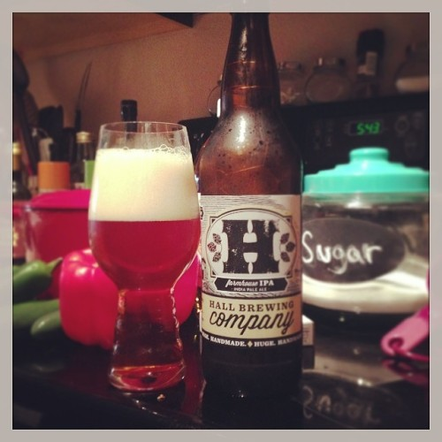 Making hot pepper jelly and drinking a cold one. This Farmhouse IPA by Hall Brewing is for #hopheads only.<br /> #drinkandspoon #drink #colorado #craftbeer #craftbeercommunity #beerporn #beergasm #ipa #instapic #instagood #instabeer #cooking