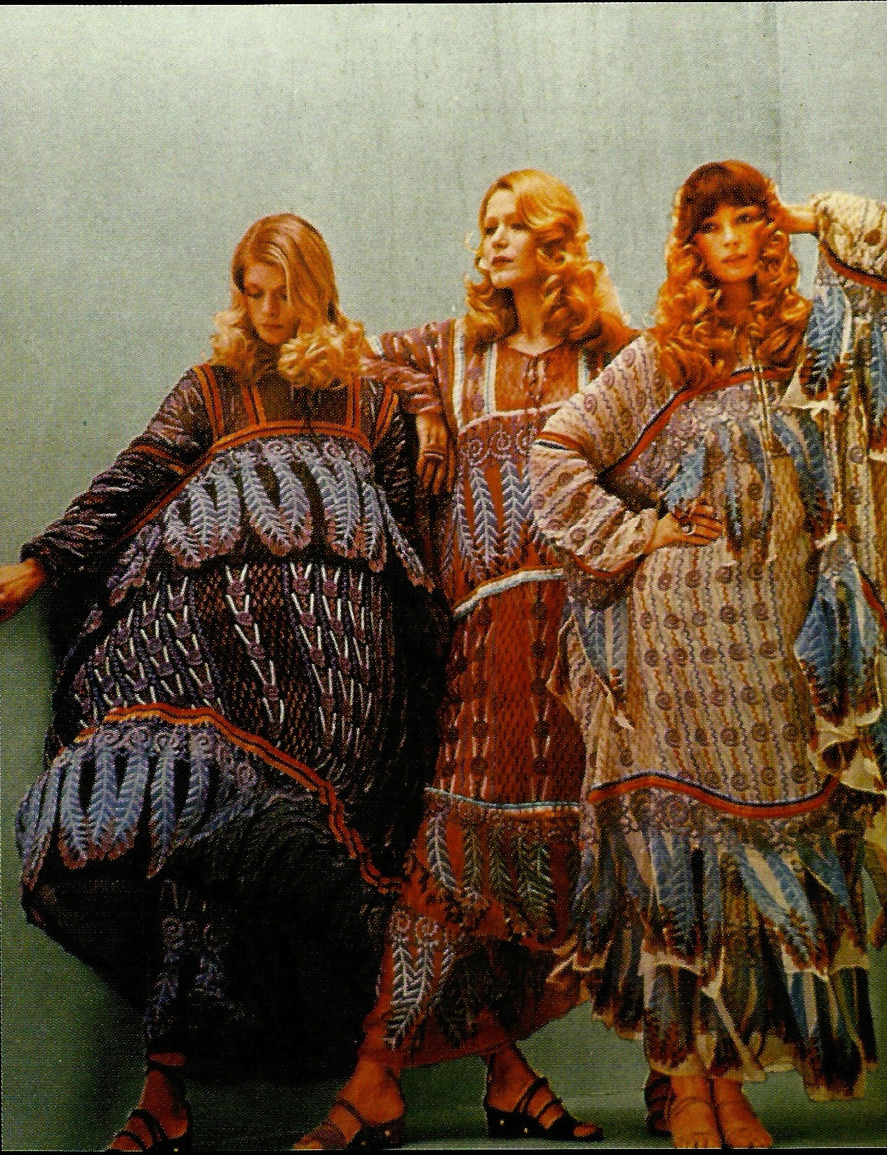 1970saesthetic:  Kaftans by Zandra Rhodes photographed by Norman Eales, 1970