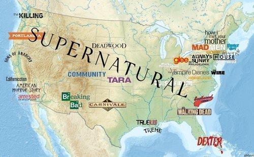 USA-Karte mit Spielorten von TV-Serien