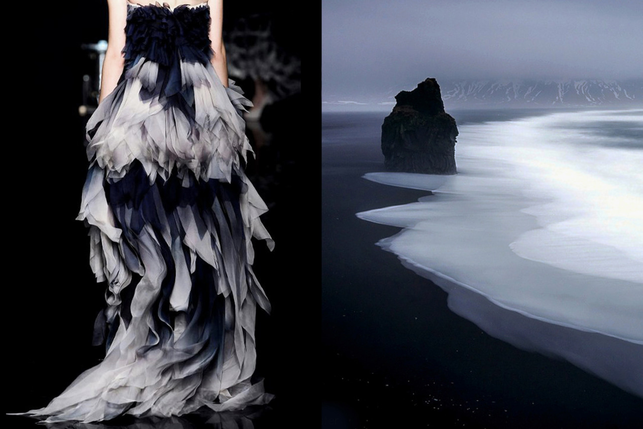 Match #139<br /> Yiqing Yin Haute Couture Fall 2012 |The black coast of Vik during heavy rainfallin Icelandby Stefan Forster<br /> More matcheshere