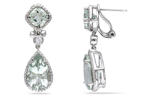 zsazsasitlist:  BY: ICE DETAILS HERE: 10 1/10 CT TGW GREEN AMETHYST CREATED WHITE SAPPHIRE EAR PIN EARRINGS SILVER