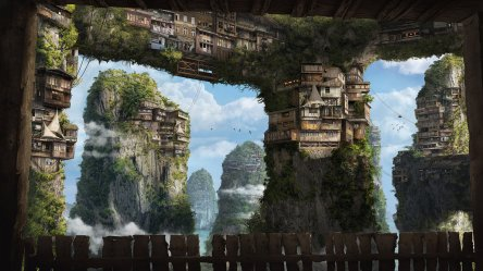 fantasy village sky deviantart clouds medieval cliff concept landscape painting height houses christian artist fence illustration china landscapes gerth scenery