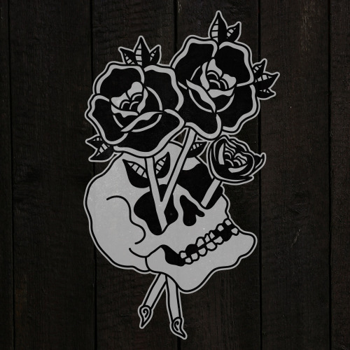 Skull And Rose Tattoo For Women