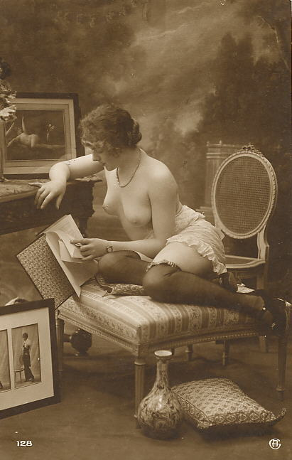 grandma-did:  George Agelou, series 128  Lovely vintage woman perusing her erotica.