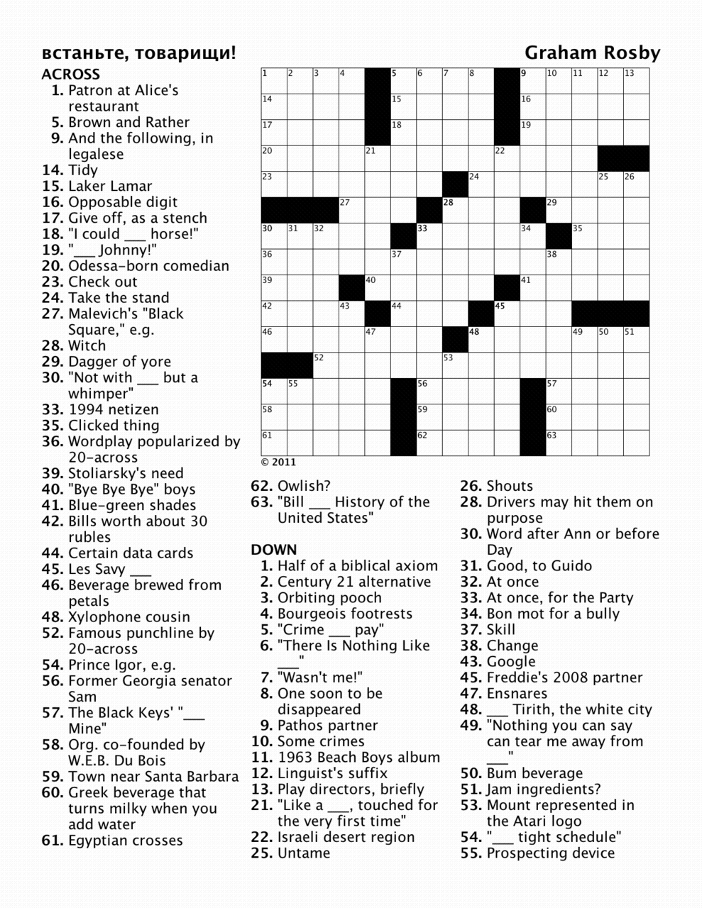 Crosswords by Graham Meyer Rosby — Puzzle for January 14