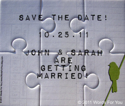 I love creative save the date ideas, so of course I love this puzzle idea. What a cute thing to send to your guests. What's the best save the date idea you've seen? Share it with me, I love hearing about new ideas. Xoxo, Sarah