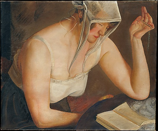 "Woman Reading (1922). Boris Grigoriev (Russian, 1886–1939). Oil on canvas. The Metropolitan Museum of Art. "" ""I have been watching and studying the Russian people for many years … and these paintings are the fruits of my observations."" (Grigoriev)"