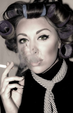 sissyperm smoking in curlers