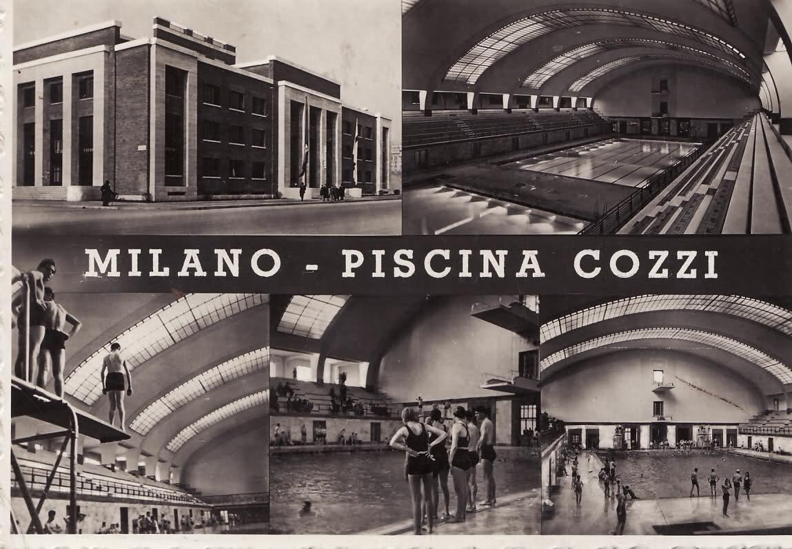 Piscina Cozzi anni 30 Fuori un surreale viale  case della Vetra