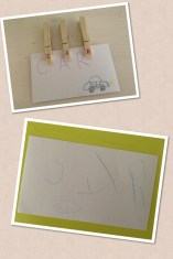 School days at home on a rainy day - Thomas`s first written word!