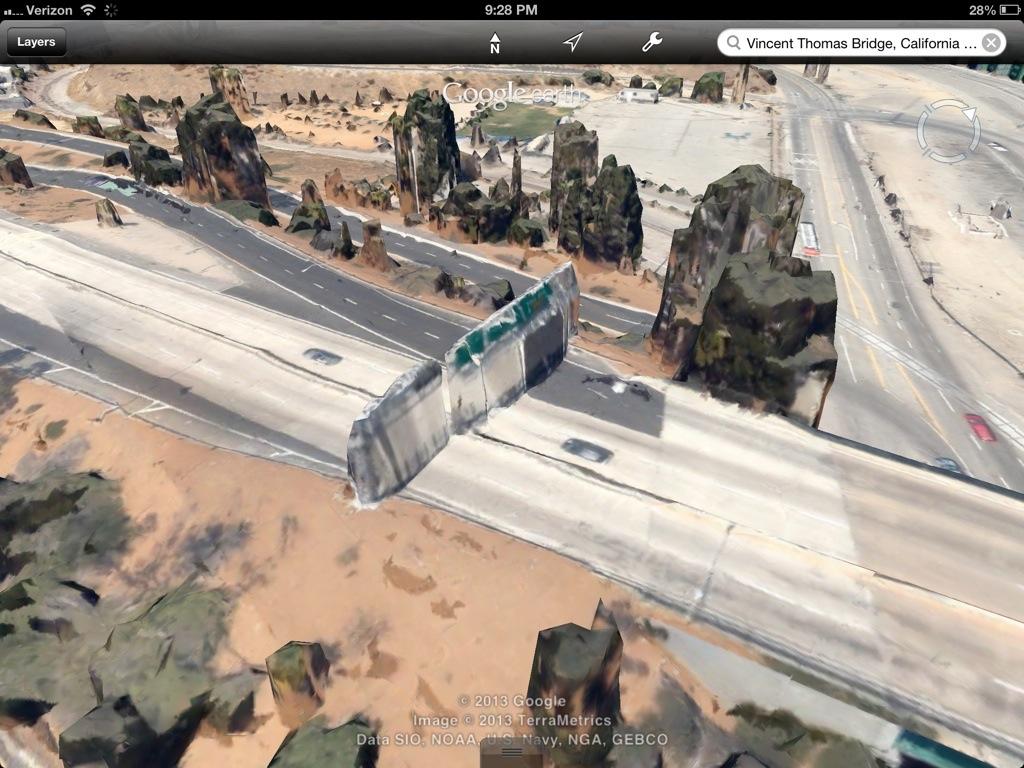 Google 3D Map Vincent Thomas Bridge