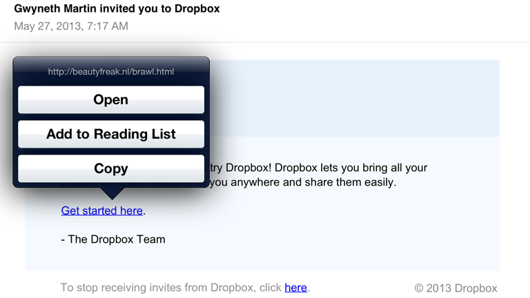Spam Phising Email Fake Dropbox