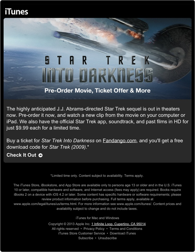Star Trek Into Darkness iTunes Pre-order
