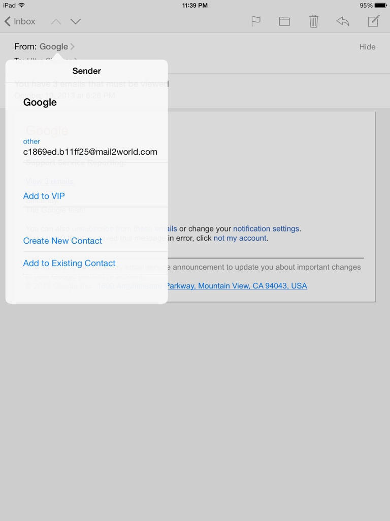Fake Email from Google 1