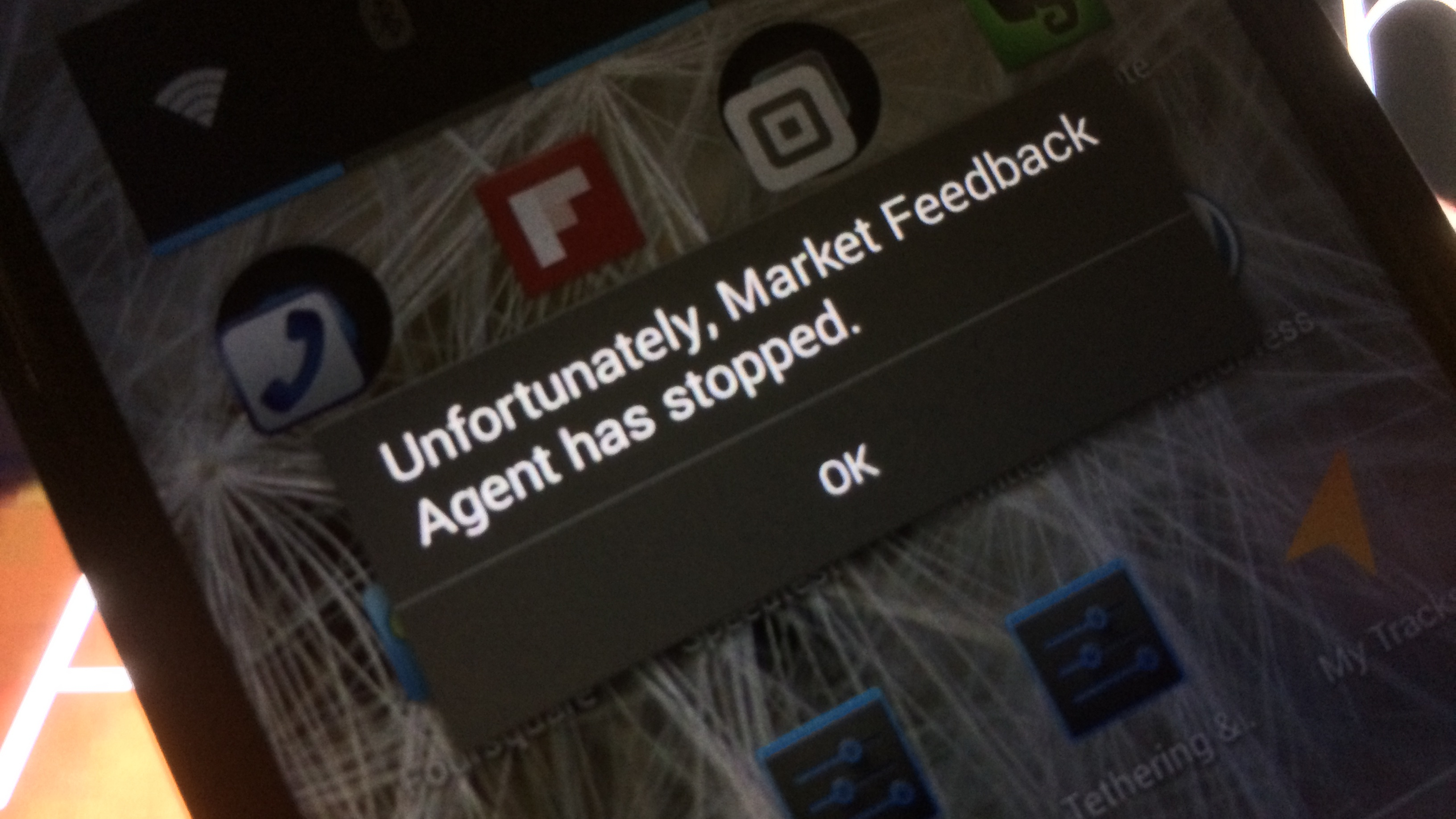 Android Market Feedback Agent has stopped