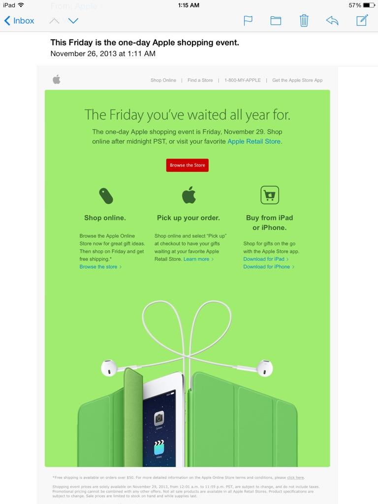 Apple Friday November 29 2013 Shopping Event