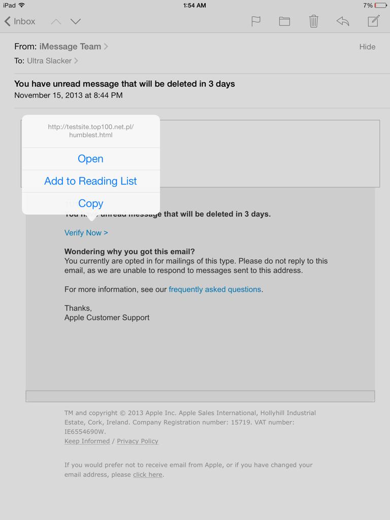 Scam Alert iMessage