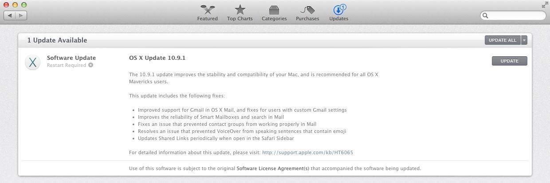 OS X Mavericks 10.9.1 Update
