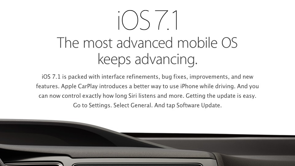 iOS 7.1 at Apple dot com