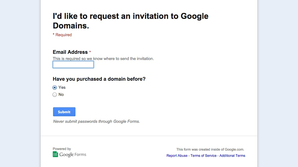 Google Domains Request Invitations
