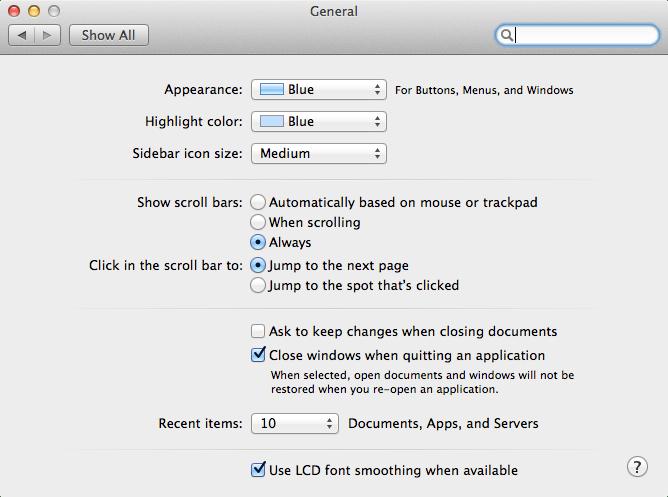 OS X Show Scroll Bars