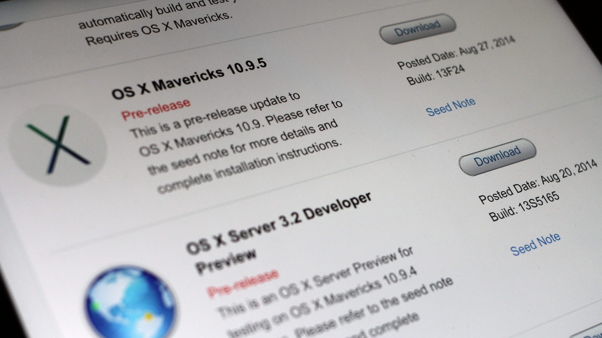 OS X Mavericks 10.9.5 build 13F24