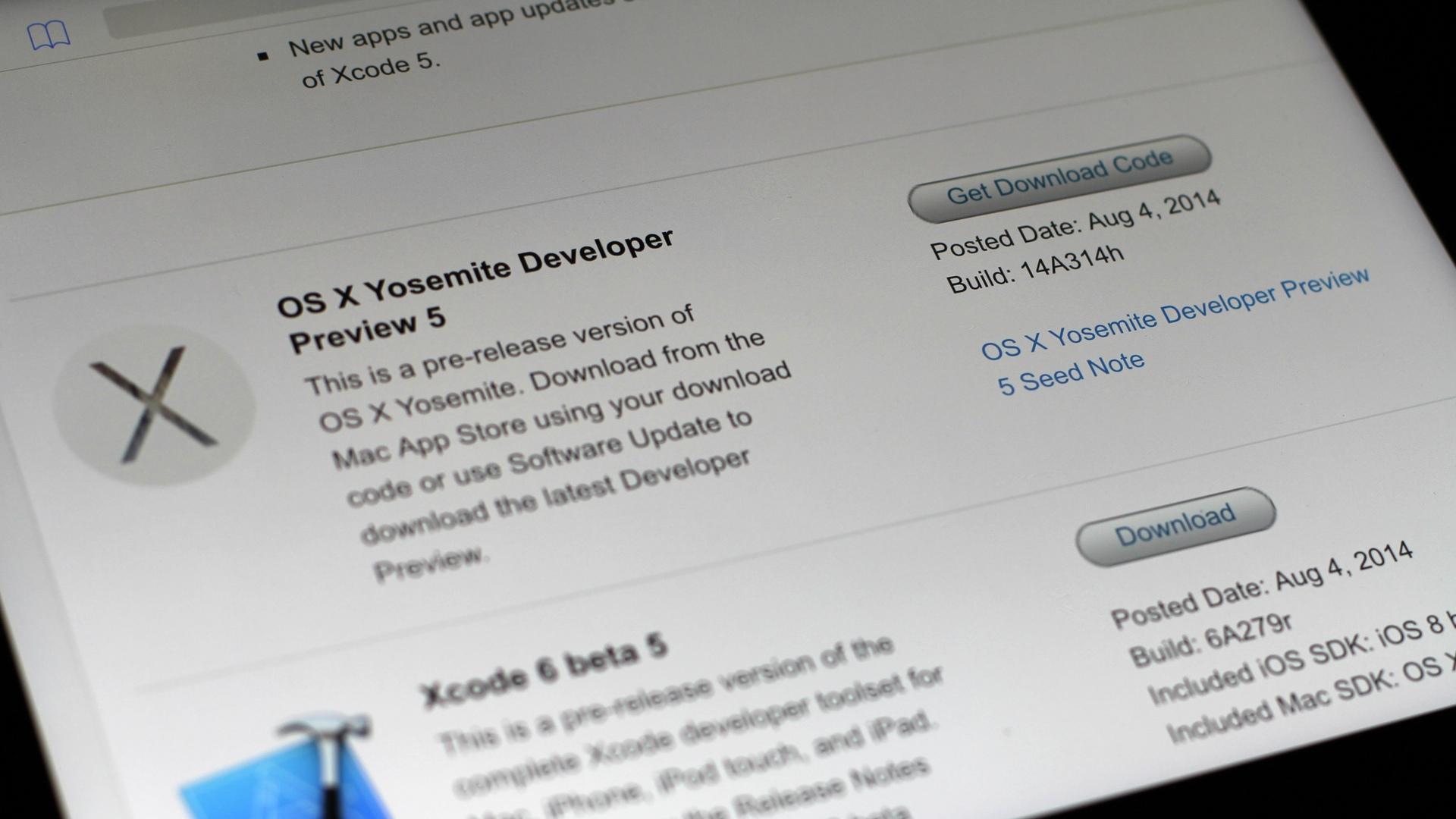 OS X Yosemite Developer Preview 5 build 14A314h
