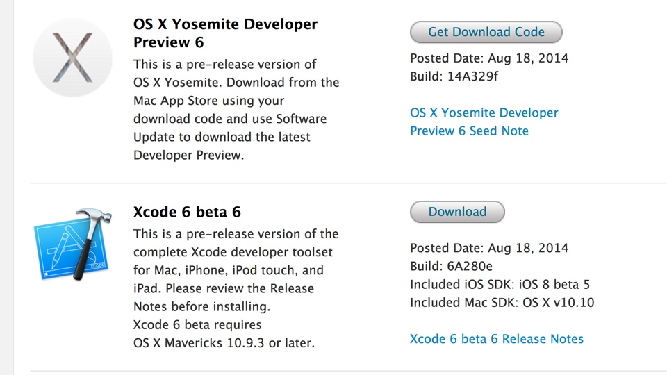OS X Yosemite Developer Preview 6 1.0 Build 14A329f
