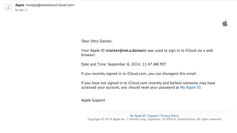 Apple iCloud Sign-in notification