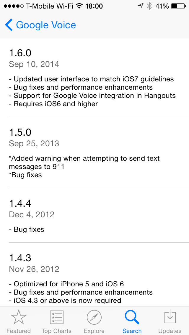 Google Voice for iOS 1.6.0 Version History