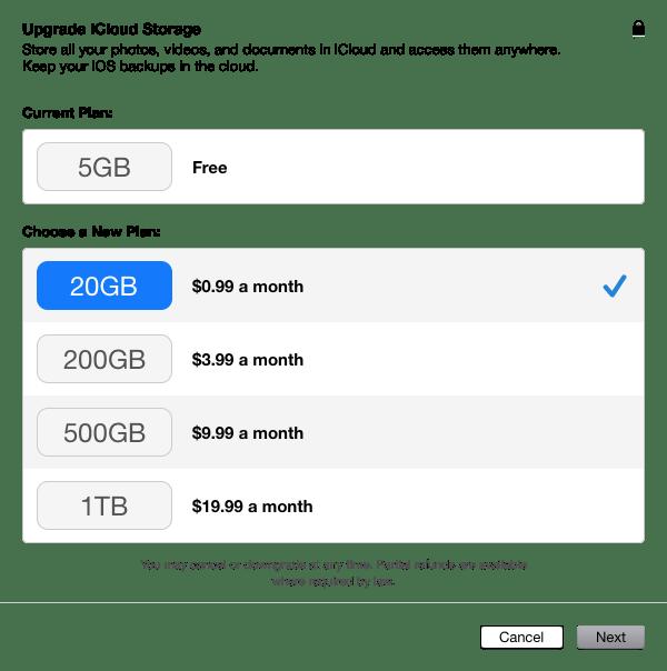 iCloud Storrage Upgrade 20GB