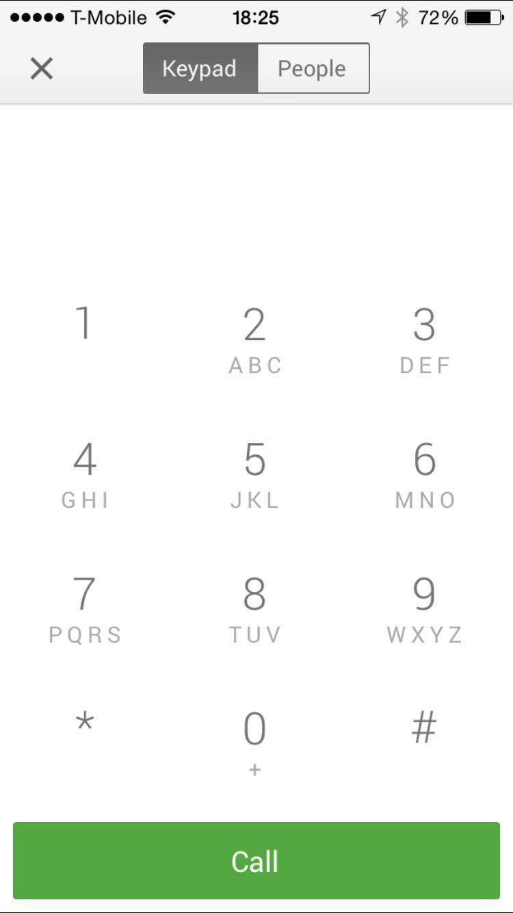 Google Hangouts 2.2.0 Dialer iPhone 6