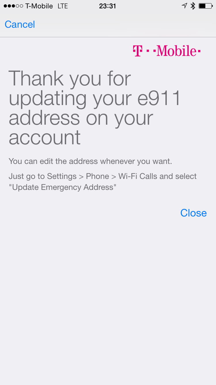 T-Mobile Wi-Fi Calls e911 Address