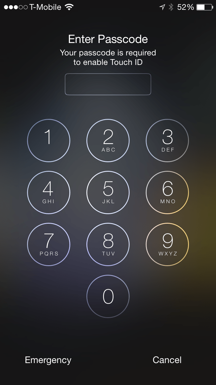 Passcode is required to enable Touch ID