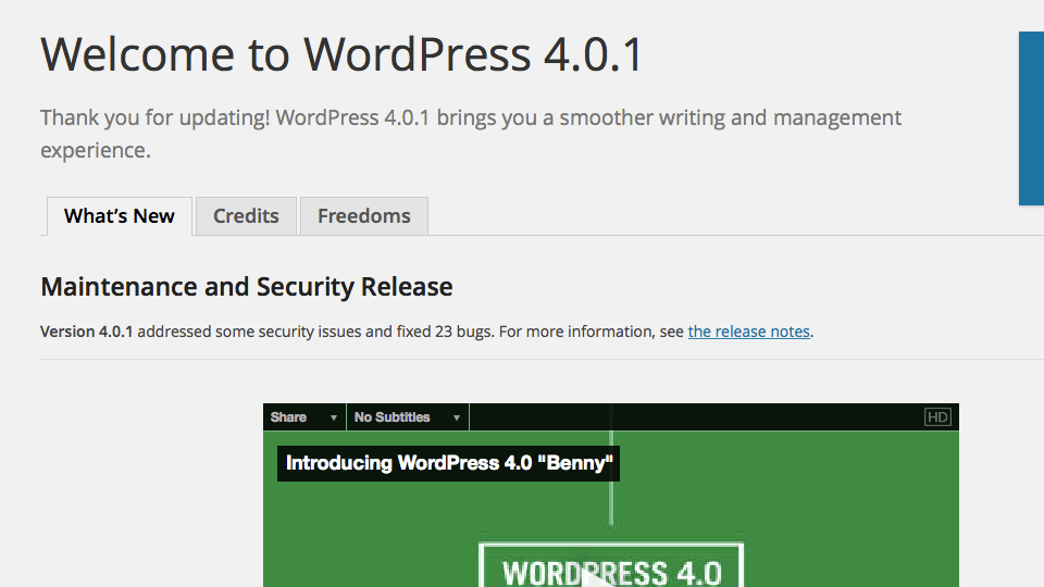 Welcome to WordPress 4.0.1