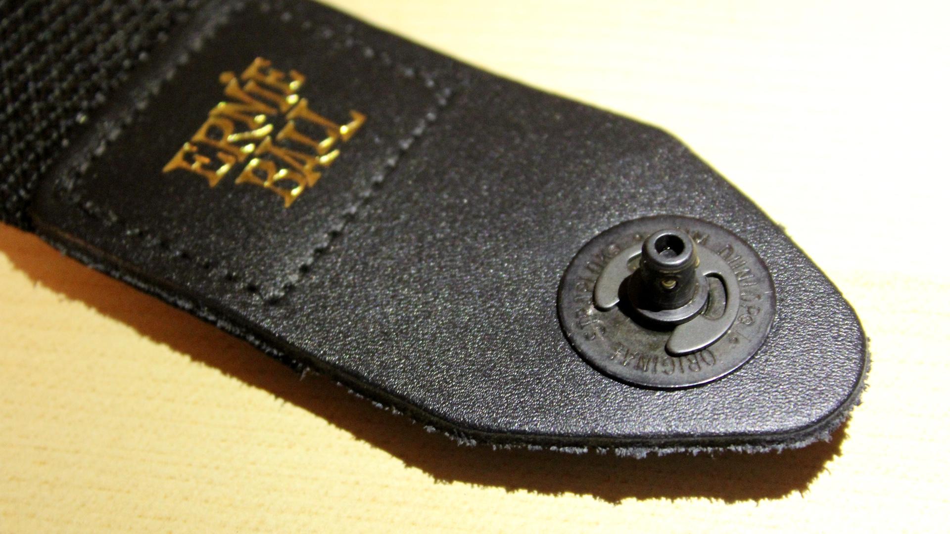 Straplok on Ernie Ball Strap with retainer clip
