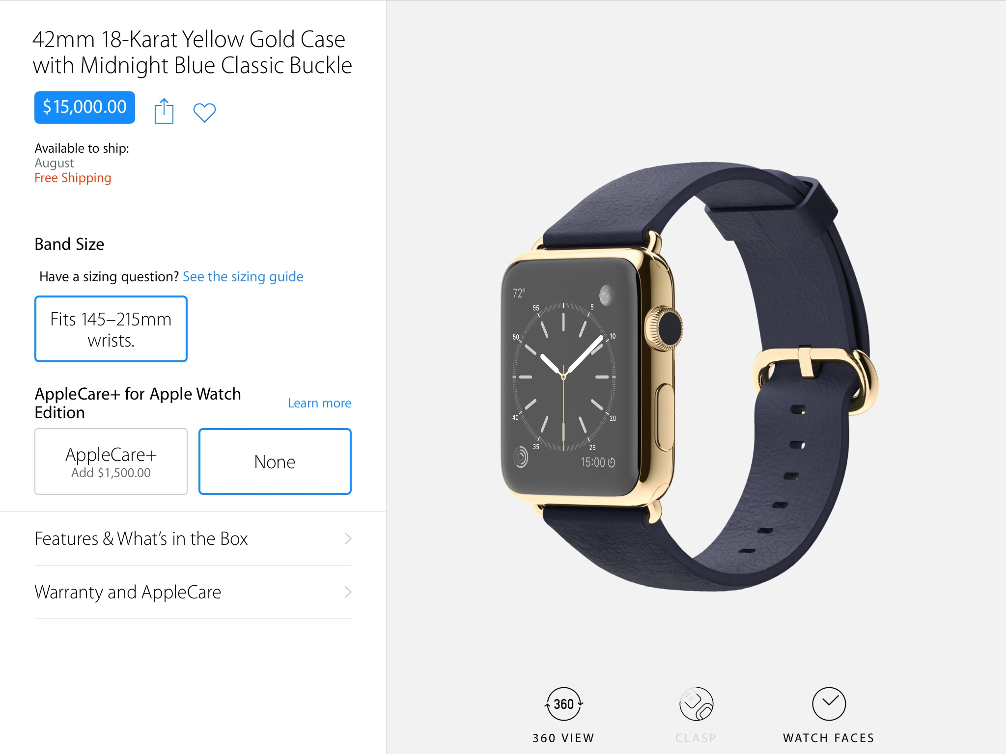 Apple Watch Edition Ships August 2015