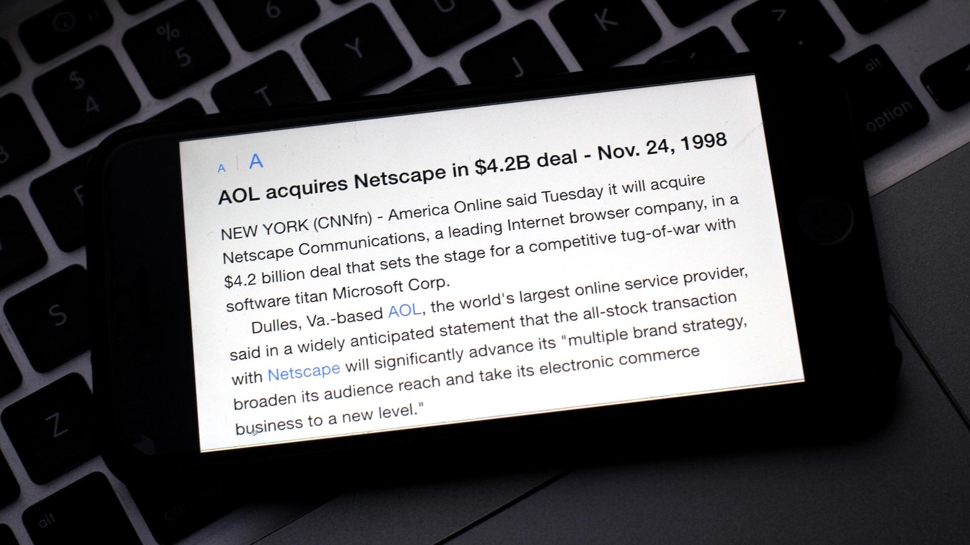 AOL Acquires Netscape 4.2 Billions 19981124