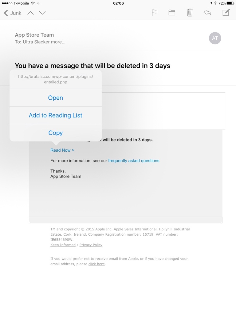 App Store Team Spam