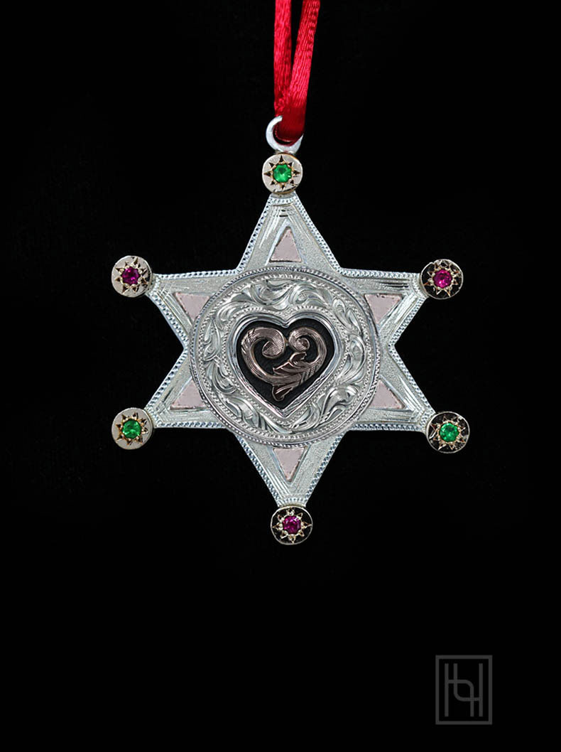 Western Love Star Christmas Ornament Holidays By Hyo Silver