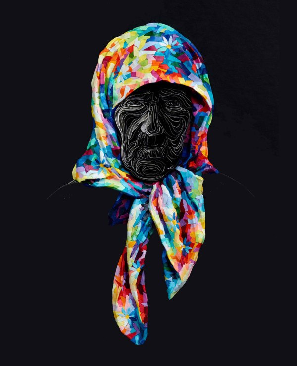 Art Design Crafts Paper Cutting Colorful Russia Expressive Portraits Contemporary