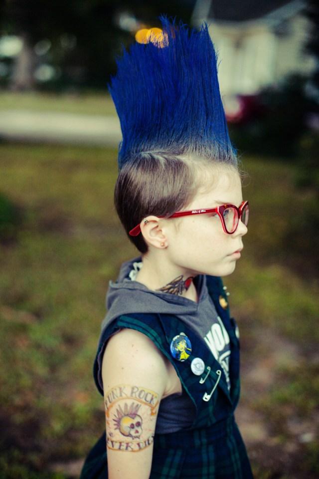 cosplay tattoos blue hair mohawk cosplay kids the ramones